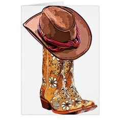 Shop Brown Cowgirl Boots And Hat Still Life Art Faux Canvas Print created by ElizabethBCDesigns. Brown Cowgirl Boots, Watercolor Flowers Tutorial, Cowboy Art, Cowboy Boots Drawing, Farm Art, Country Art, Country Boots, Country Paintings, Southwest Art