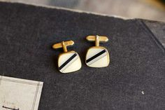 French vintage stripe cufflinks in black, white and grey