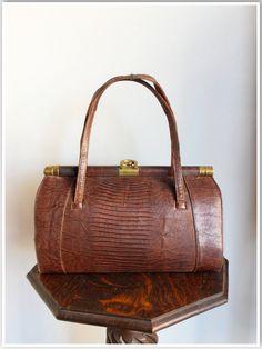 1940s Handbag // Lizard Sterling Handbag // by dethrosevintage