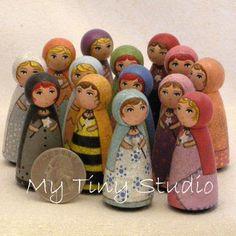 Tiny Wooden dolls in Etsy