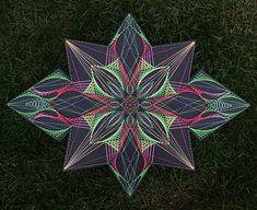 Shines under the ultraviolet. String Art Tutorials, String Art Patterns, Contemporary Art Forms, Psychedelic Decor, Arte Linear, Alchemy Symbols, Art Worksheets, Spirograph, Math Art