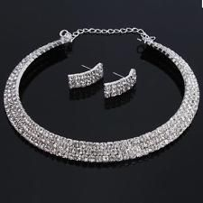 Hot Charm Wedding Bridal Rhinestone Crystal Necklace Earring Plated Jewelry Set
