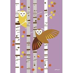 "GreenBox Art 'Forest Owl Birch' by Eleanor Grosch Graphic Art on Wrapped Canvas Size: 14"" H x 10"" W x 1.5"" D"