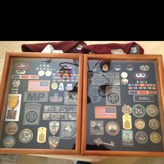 Mitch and I made shadow boxes of all our Army goodies that had been just sitting in boxes!