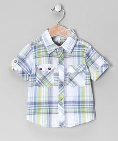 Take a look at this Green Stripe Plaid Button-Up - Infant on zulily today!