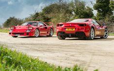 Download wallpapers Ferrari F40, red sports cars, supercars, Italian cars, Ferrari 488 GTB