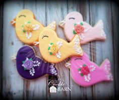 Pretty Bird Baptism Decorated Cookies