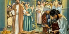 At a wedding feast in Cana, Jesus instructs attendants to fill jars with water