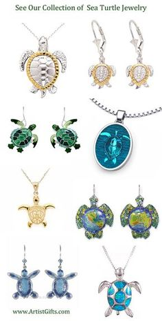 Free Shipping Everyday on our Sea Turtle Jewelry in a variety of styles! Sea Turtle Earrings, Necklace and Pins in Silver, Enamel, Gemstone and Stainless Steel make great gifts for that special sea turtle lover!