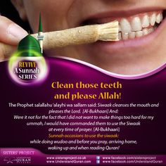 """Siwaak means cleaning the mouth and teeth with a siwaak, which is the name given to the tool used. The siwaak is a stick or twig (of the arak tree) used for this purpose. Now, you don't have to throw your toothbrush in the bin, but use the siwaak or miswaak (""""natural toothbrush"""") in addition to it and gain the …"""