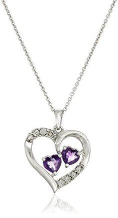 Sterling Silver Amethyst Heart with Diamond Pendant Necklace 18 -- You can find out more details at the link of the image.-It is an affiliate link to Amazon.
