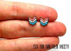 Lil' Chevrons Stud Earrings by kteediid on Etsy
