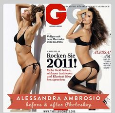 Victoria's Secret model Alessandra Ambrosio - before and after Photoshop. She is one of my fav VS models, and her real body is already to die for. Makeup Photoshop, Photoshop Face, Model Photoshop, Alessandra Ambrosio, Corps Idéal, Before And After Photoshop, Fitness Before And After Pictures, Concealer, Celebrities Before And After