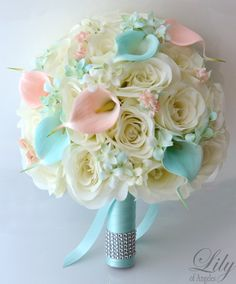 "Bridal Bouquet Silk Flower 17 Piece Package Wedding Bride Maid Honor Bridesmaid Boutonniere Corsage Robin's Egg Blue PEACH ""Lily of Angeles"""