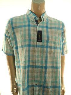 CLUB ROOM NEW $54 BLUE WHITE PLAID Big & Tall LINEN BUTTON SHIRT sz 2XB #ClubRoom #ButtonFront
