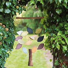 "Fair trade hand-painted ceramic wind chime; I would like to try this idea on a bike wheel, where the ""trunk"" hangs from the hub and the leaves hang at different lengths from the spokes."