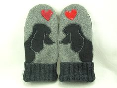 Mittens Felted Wool Recycled Sweater in Grey Black and Red Poodle Applique Leather Palm Fleece Lining Up Cycled RESERVED FOR LAUREN