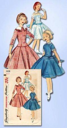 1950s Girl's Drop Waist Dress Pattern Unused Vintage Simplicity Pattern Sz 8   eBay