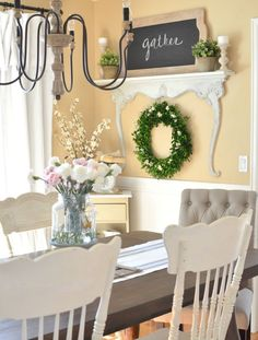 nice Salle à manger - Modern farmhouse dining room with DIY shelf made with a vintage dresser harp. Farmhouse Dining Room Table, Dining Room Wall Decor, Farmhouse Style Decorating, Modern Farmhouse Decor, Dining Room Design, Diy Wall Decor, Vintage Farmhouse, Room Decor, Urban Farmhouse
