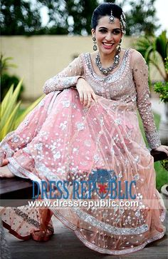 Cameo Pink U Neck Full-length Sleeve Dress Designer Pakistani Anarkali Dresses 2014