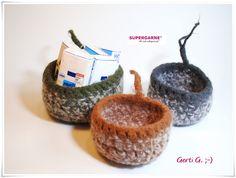 Körbe - Filzkorb, 3er Set Filzkörbchen, Utensilo - ein Designerstück von HaekelFee-Gerti_G bei DaWanda