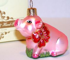 NEW Boxed POLAND Impuls BLOWN Glass PINK PIG &RED BOW Christmas Ornament Glitter #Impuls