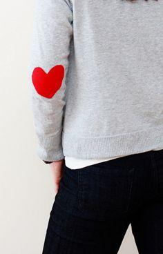 {Valentines} DIY Felt Heart Elbow Patch