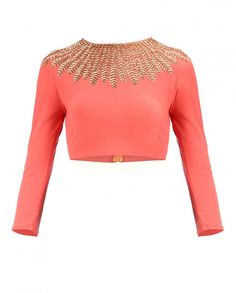 Monarch Orange Gold Feather Top - New Arrivals | SHOP NOW ON : http://bit.ly/NamrataJoshipura_shop