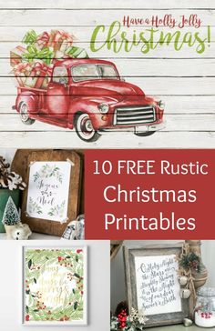 Ten beautiful, free rustic themed Christmas printables! Perfect for using as wall art or to compliment your holiday decor. These look great with vintage or farmhouse themes as well! via @modpodgerocks