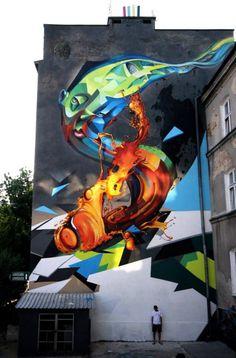 Big Walls By Cekas, Lump - Lublin (Poland), graffiti mural. Murals Street Art, Street Art News, Best Street Art, 3d Street Art, Street Art Graffiti, Street Artists, Graffiti Artists, Urbane Kunst, Wow Art