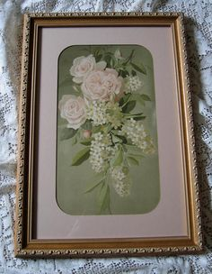 For sale at Victorian Rose Prints on Ruby Lane: c1890s Pink Cabbage Roses Lilacs Print Vouga Chromolithograph Gold Frame Half Yard Long