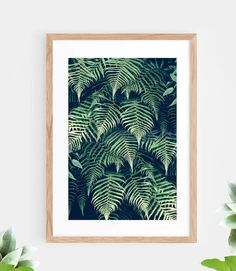 Tropical Leaf Fern Pattern Printable Wall Art Green Tropical Plant Instant Download Jungle Modern Wall Decor Contemporary Wall Art Printable