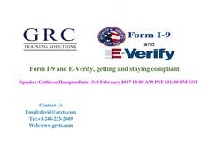 Employers are required to complete an I-9 form for every person they hire and to update these forms when necessary. Periodically, the DHS, the Department of Labor and the Justice Department send Notices of Inspection to employers to audit their I-9 forms. If the I-9 forms are not completed correctly, an employer may be fined even if all their employees are legally authorized to work in the U.S.For More Details:  Email: david@grcts.com Tel: +1-248-233-2049 Web: www.grcts.com