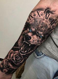 Tattoos for men Wolf Tattoo Forearm, Tribal Wolf Tattoo, Forarm Tattoos, Cool Forearm Tattoos, Wolf Tattoo Design, Body Art Tattoos, Hand Tattoos, Cool Tattoos, Lion Tattoo Sleeves