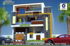 Discover the top-notch and affordable 12 Indian Front Elevation Home Designs created by the world-class architects and designers of Acha Homes. House Front Wall Design, House Outside Design, Village House Design, Small House Design, Modern House Design, 3 Storey House Design, Bungalow House Design, Front Elevation Designs, House Elevation