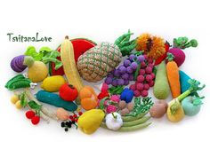Set of 15 pcs Toys Vegetables  - Seasons - eco-friendly toys - Play food - crochet toys - Toys Food - soft toy - Montessori - Made to order