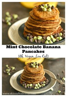 Made with banana, almond milk, gluten free oats and flour, these light, silky & sweet Mint Banana Chocolate Chip Pancakes are vegan, gluten free and low calorie!