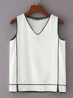 SheIn offers Contrast Binding Sleeveless Top & more to fit your fashionable needs. Shop the latest arrivals at SheIn, always stay ahead of the fashion trends. Sewing Blouses, Mode Chic, Mode Outfits, Corsage, Cute Tops, Pulls, Refashion, Blouses For Women, Fashion Tips