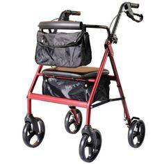NEW-HomCom-72-0013-Red-Folding-Aluminum-Walker-Rollator-Seat-w-Storage-Bags 8 inch wheel  125.00  Acquire other efficient strolling products here at http://atcemsce.org/best-knee-brace-for-running/