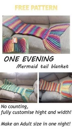 One evening Crochet Mermaid tail blanket pattern is part of Knitting and Crochet Patterns Mermaid Tails - Free Crochet pattern for a gorgeous Mermaid tail that can be made in one evening From a toddler in just 2 5 hours to an adult in(more ) Mermaid Tail Blanket Pattern, Crochet Mermaid Blanket, Crochet Blanket Patterns, Crochet Blankets, Mermaid Blankets, Crochet Afghans, Crochet Pillow, Crochet Mermaid Tail Pattern, Loom Patterns