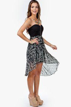 Tribal Zip Front Hi Low Dress