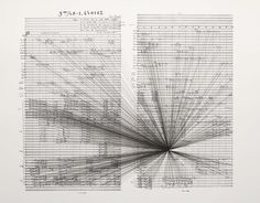 MARCO FUSINATO. Mass Black Implosion (Iannis Xenakis ST/48 - 1, 240162), 2007  ink on archival facsimile of score
