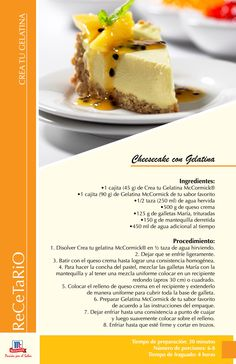 Cheesecake con Gelatina @SaborSV #Postre #Saborsv #recetas https://www.facebook.com/McCormickSV