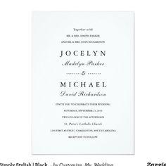 Simply Stylish   Black and White Wedding Invitation