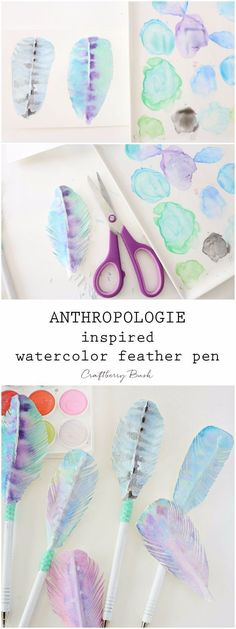Anthropologie DIY Hacks, Clothes, Sewing Projects and Jewelry Fashion - Pillows, Bedding and Curtains - Tables and furniture - Mugs and Kitchen Decorations - DIY Room Decor and Cool Ideas for the Home | Anthropologie Inspired Water Color Feather Pen | htt