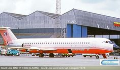 Court Line BAC 111-500 (G-AXML) British Airline, Cargo Airlines, Jets, Airplanes, Euro, Britain, Aviation, The Past, Aircraft