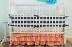 Dot Tiered Baby Bedding | Navy Blue, Coral Crib Bedding Set - Jack and Jill Boutique