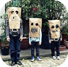 Sac Halloween, Maske Halloween, Halloween Crafts, Happy Halloween, Halloween Party, Halloween Costumes, Cardboard Costume, Cardboard Mask, Diy Carnival