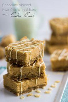 White Chocolate Almond Krispie Cookie Bars - Rice Krispie Treats and Sugar cookies combined! SO EASY | Foodfaithfitness.com | @FoodFaithFit