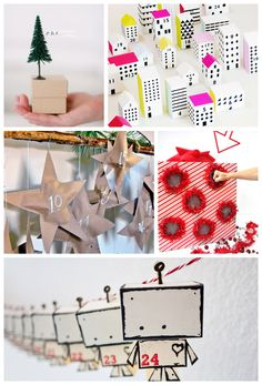 DIY Advent Calendar Ideas with ideas for activities to do with your kids all month! Great list! Love the robot advent calendar!